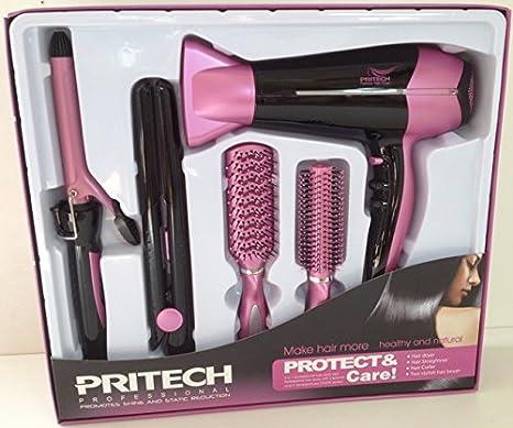 Pritech Juego peinado 5 en 1 secador. Plancha de pelo. Rizador de pelo. 2 cepillos - 624: Amazon.es: Belleza