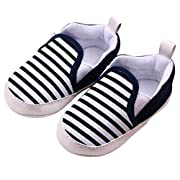 Voberry® Baby Boys Girls Toddlers Striped Sneakers Soft Sole Anti-Slip Outdoor Canvas Shoes (6~12 Month, Black)