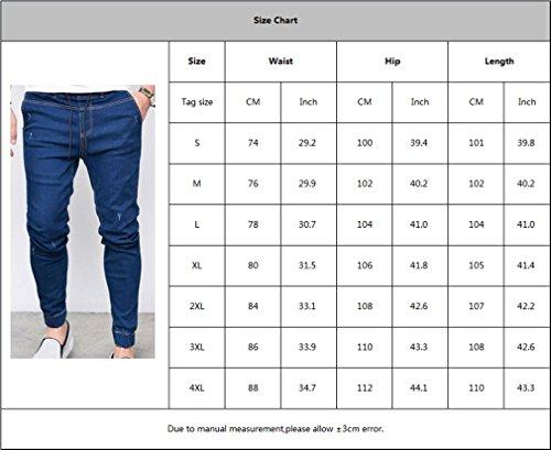 Yying Jeans Pantaloni Tasche Uomo Confortevole Con Nero Fit Moda Skinny Vita Strappato Slim Lunghi Media Per Elastica 8FvAn8rw