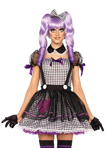 Leg Avenue Women's Dead Eye Dolly Costume, Black/White, Large -