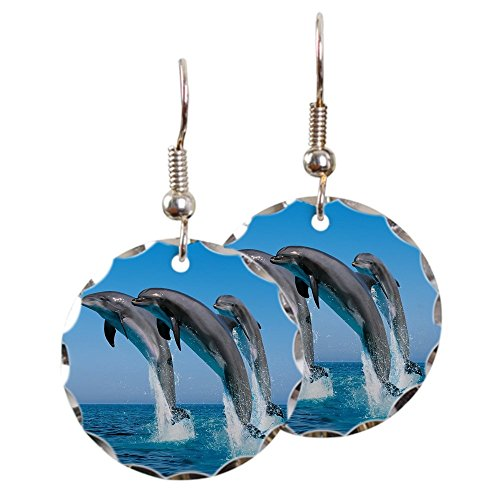 - Earring Circle Charm Dolphins Dancing