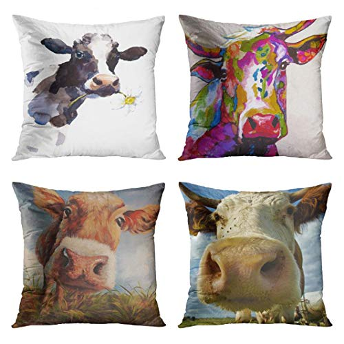 - Emvency Set of 4 Throw Pillow Covers Watercolor Cow a Daisy Flower Its Mouth Farm Animal Portrait Decorative Pillow Cases Home Decor Square 20x20 Inches Pillowcases