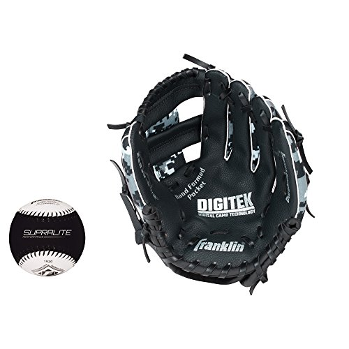 "Franklin Sports 22839L   RTP Teeball Performance Gloves & Ball Combo, 9.5"", Left Hand Throw, Black/White"