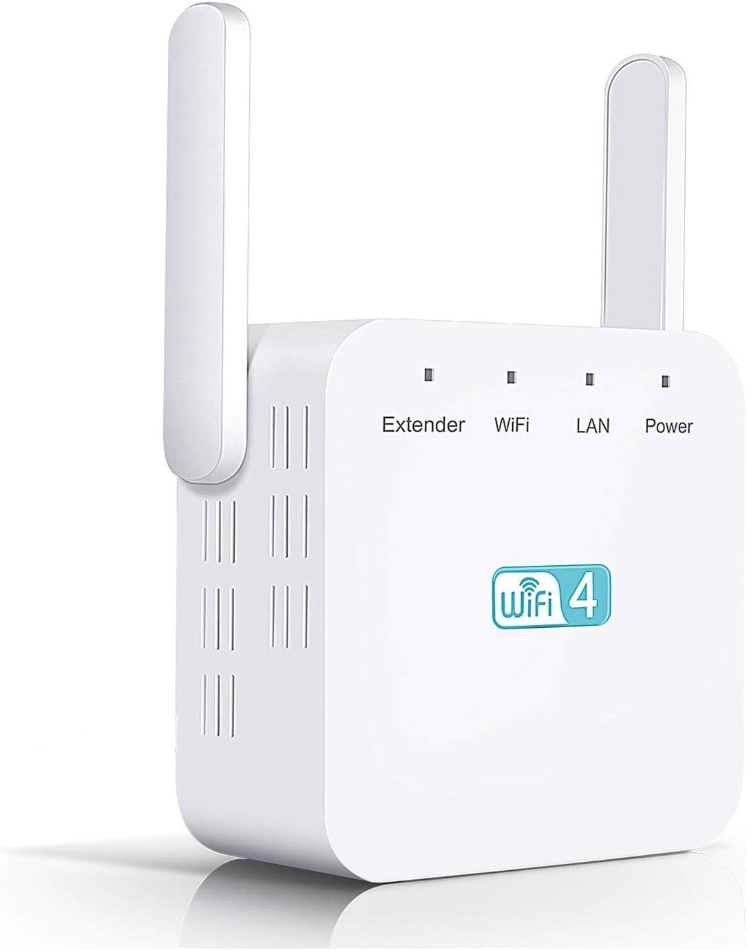 Temfly Amplificador de WiFi,Repetidor WiFi 300Mbps/2.4GHz Repetidor Señal WiFi(Universal),WiFi Repetidor Amplificador Extensor Red WiFi con 2 Antenas ...