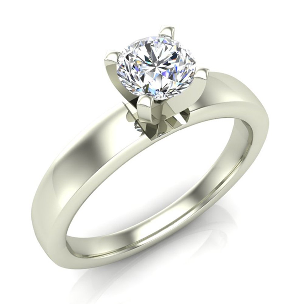 Solitaire Diamond Ring Fitted Band Style 14k White Gold 0.50 ct (Ring Size 7)