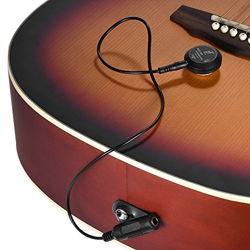 Yimaler Acoustic Guitar Pickup Mini Piezo Contact Microphone Transducer Easily AMP UP for Ukulele Violin Mandolin Banjo Cello Black