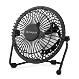 Ideapro Mini USB Desk Personal Fan, Small 6 inch 4 Aluminum Blades Ultra Quiet Lower Noise Powerful Velocity Desktop Electric Fan, 360° Rotating, Portable for Home Office Table (Black)