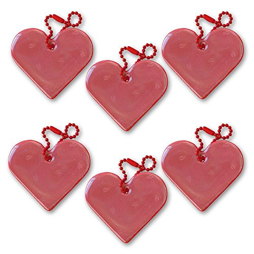 funflector Safety Reflector - Heart - Red - 6-Pack