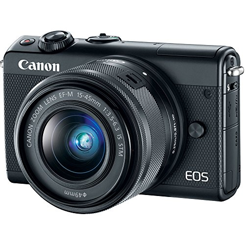 Canon EOS M100 Mirrorless Camera w/15-45mm Lens – Wi-Fi, Bluetooth, and NFC Enabled (Black) (Certified Refurbished)