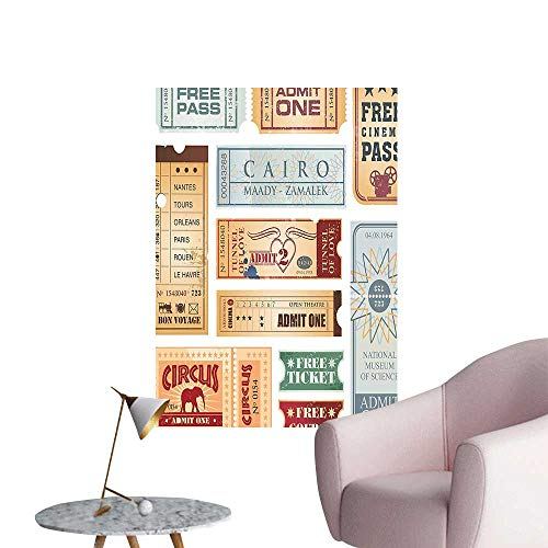 Wall Art Prints Tickets Circus Cinema Museum Festival Old Concept Baby Blue Light Brown Red for Living Room Ready to Stick on Wall,20