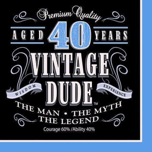 Creative Converting 16 Count Vintage Dude 40th Birthday Lunch Napkins -