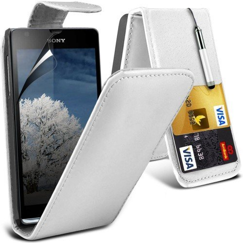 Sony Xperia SP Leather Flip Case Cover (Blanco) Plus de regalo libre, Protector de pantalla y un lápiz óptico, Solicitar ahora mejor caja del teléfono Valorado en Amazon! By FinestPhoneCases