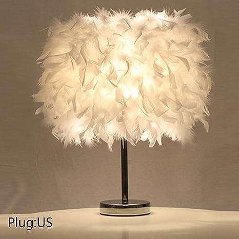 Lights & Lighting Lower Price with Feather Table Lamp Romantic Led Bedside Lamp Modern Table Light Bedroom Living Room Reading Kids Desk Night Light Us Eu Plug E27 Led Lamps