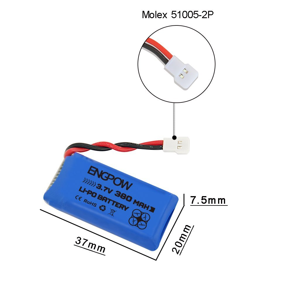 3.7V 380mah Lipo Battery With X4 Battery Charger For