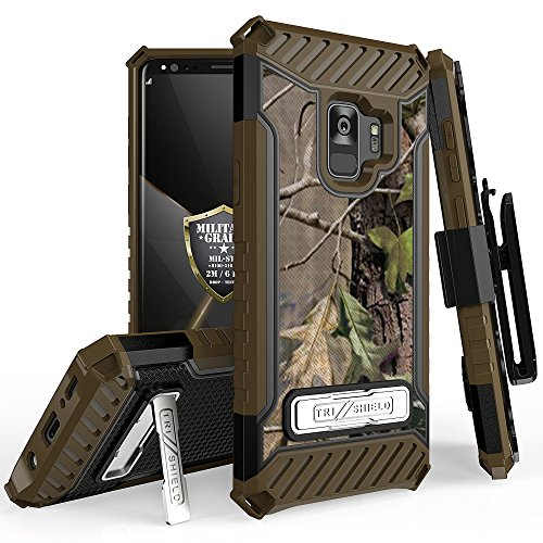 Galaxy S9 Case, Trishield Durable Rugged Heavy Duty Phone Cover with Detachable Lanyard Loop Belt Clip Holster and Built in Kickstand for Samsung Galaxy S9 - Printed Hunter Tree Outdoors Camo