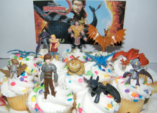 How to train your dragon set of 12 figure cake toppers cupcake how to train your dragon set of 12 figure cake toppers cupcake party favor decorations with 9 dragons hiccup astrid and some new charcters ccuart Gallery