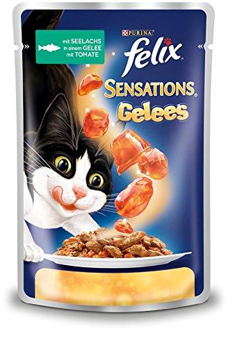 Felix Sensations Gelees Katzennassfutter (mit Seelachs und Tomate), 20er Pack (20 x 100g)