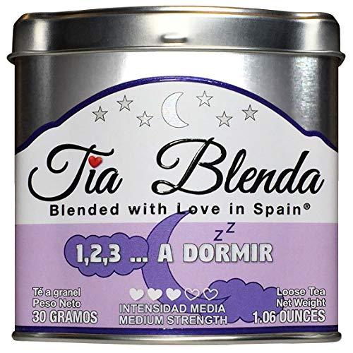 TIA BLENDA - 1,2,3 A DORMIR (30 g) - Relajante infusion Premium con HIERBALUISA y TILA Seleccion de hierbas naturales sueltas 50 - 60 tazas Presentacion premium en lata Loose Tea Caddy