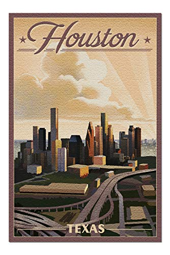 Houston, Texas - Lithograph (20x30 Premium 1000 Piece Jigsaw Puzzle, Made in USA!)