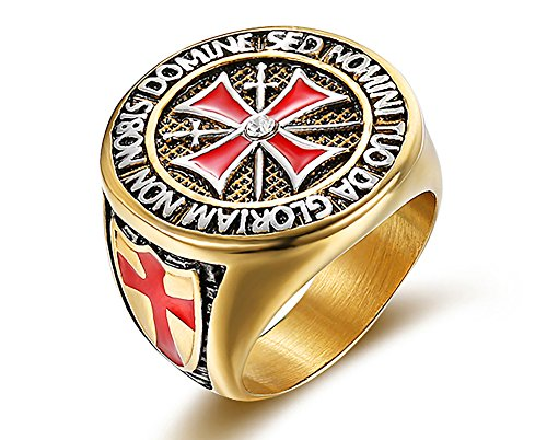 PJ Jewelry Mens Stainless Steel Heavy Rhinestone Medieval Knights Templar Maltese Biker Cross Ring,Size 10 Maltese Cross Mens Ring