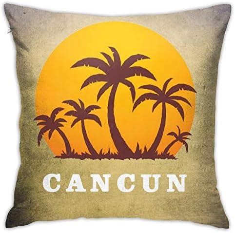 カンクンメキシコの夕日とヤシの木ビーチ 枕カバー 人気の 抱き枕 カバー おしゃれ クッション カバー 上品 柔らかい 車用 家庭用 ホテル向け 高級感 デコレーション 45X45CM 正方形