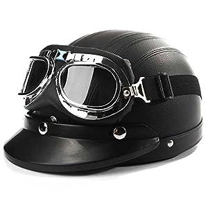 AUDEW Moto ECE Helmet Ouvert Visage Casque Demi Cuir Avec lunettes Pare-soleil + Echarpe Noir
