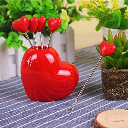 (Spoon And K - 5pcs Cute Ks Novelty Red Heart Stainless Steel Fruit K Dessert Spoon Set Tableware - Cleaner Classic Decor Education Real Kitchen Tone Jasmine Reusable Lace Edge Mount Organic Dess)