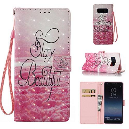 Galaxy Note8 Case [Wrist Strap], MerKuyom [Kickstand] Premium PU Leather Wallet Pouch Card Holder Folio Flip Cover Skin Case for Samsung Galaxy Note 8 Note8, W/Stylus (3D - Pink Cloud Beautiful)