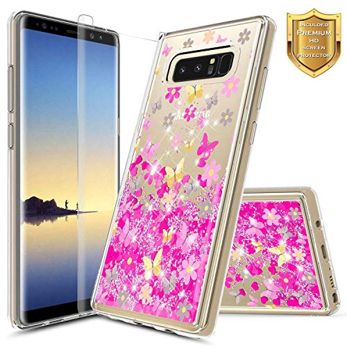 Note 8 Case, Galaxy Note 8 Glitter Liquid Case w/[Screen Protector Premium Clear], NageBee Quicksand Waterfall Floating Flowing Sparkle Shiny Bling Girls Cute Case for Samsung Galaxy Note 8 -Butterfly