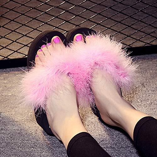 Mylhope Sandales Épais À De Doigt Tongs Compensées Dames Marabou Antidérapantes Talons Plumes Chaussures 35 B b En Pied Fourrure Plumes qzxfrnwzEX