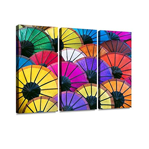 (Colorful Asian Umbrellas on Night Market in Luang Prabang, Laos Print On Canvas Wall Artwork Modern Photography Home Decor Unique Pattern Stretched and Framed 3 Piece )