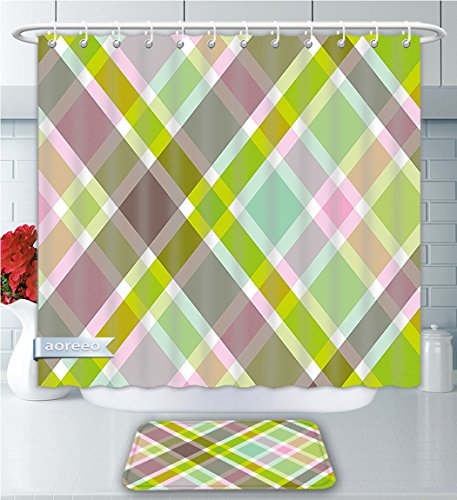 Aoreeo Bathroom Two-Piece Set rful Stripes Parallel Diagonal Artistic Lines Retro Groovy Fashion Pattern Multicolor Shower Curtain Bath Rug Set, 66