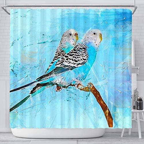 Blue Budgie Parrot (Common Parakeet) Print Shower Curtains by Pawzglore (Image #4)