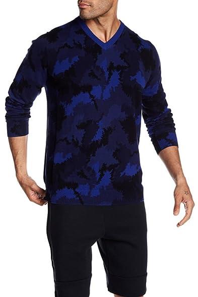 Nike Camo V-Neck Sweater Deep Royal Blue-Deep Royal Blue/Large at ...
