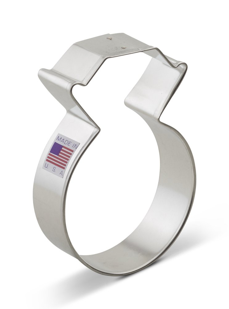 Ann Clark Diamond Ring Cookie Cutter - 3.75 Inches - Tin Plated Steel