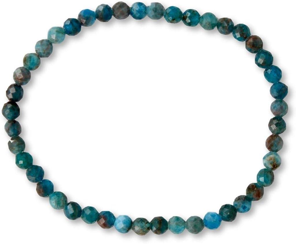 Taddart Minerals – Pulsera azul de la piedra preciosa natural Apatit con bolas facetadas de 4 mm en hilo elástico de nailon – hecha a mano.