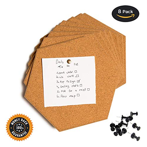 Premium Cork Bulletin Board - Premium thick Cork tiles - Cork board, Pin board, 8 Pack including M3 double sided adhesive and push pins.