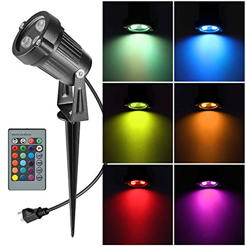 Electric Stake - Houkiper RGB Landscape Light Outdoor Led Spotlight,6W Waterproof Ac Electric Landscape Lawn Flood Light Fixture,Color Changing Landscape Light Stake for Pathway, Walkway, Garden, Patio, Ground, Yard