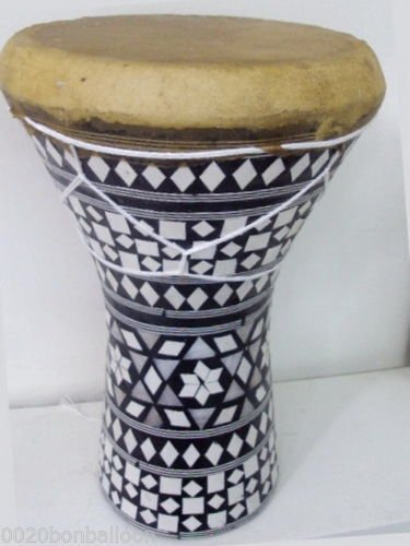 1PCS Large Egyptian Wooden Tabla Drum Doumbek Goat Skin Inlaid Handmade 11'' ,WHO#-MVOW382HRT13710 by Kenlulu INC