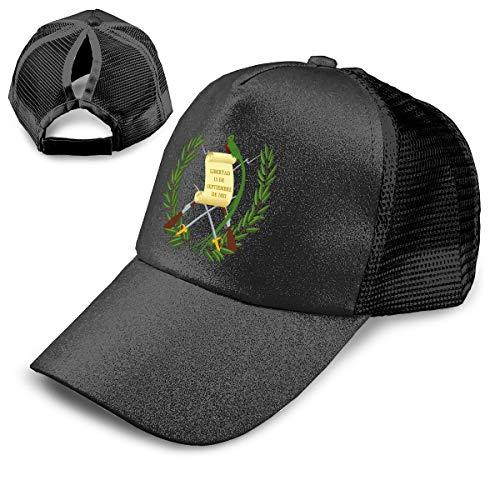 Coat of Arms of Guatemala Unisex Vintage Sequins Ponytail Hat Adjustable Trucker Snapback ()
