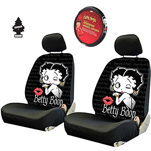 New Betty Boop Timeless Front Low Back Car Seat Covers & Steering Wheel Cover with Free Gift