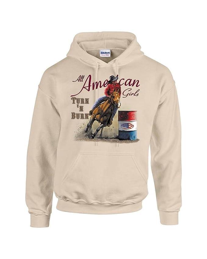 T-ShirtQueen Men's Turn N Burn Barrel Racing Rodeo Cowgirl Hoodie Sweatshirt