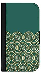 Green Floral Burst Circles - Samsung Galaxy S5 i9600-Wallet Case with Flip Cover and Magnetic Clasp-Leather-Look