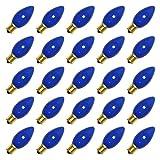Pack of 25 7-Watt C9 Incandescent, Ceramic Blue, Intermediate (E17) Base, Patio, Party, Christmas Light Bulb