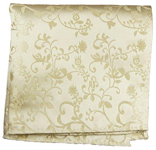 Paul Malone de carré de poche mouchoir 100% soie Beige fleurs
