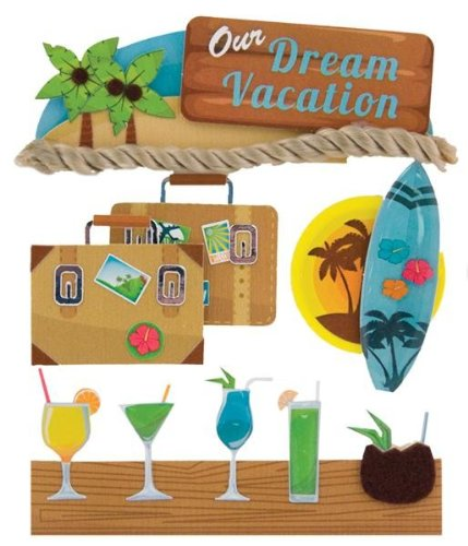 (Tropical Vacation Stacked Stickers 4/Pkg-Dream Vacation)