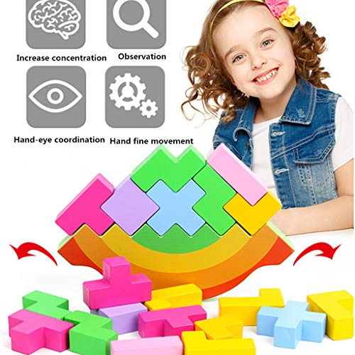 Nivalkid Wooden Balance Blocks Toy Balancing Game Stacking Toys Early Children Square Wooden Ttacks Developing intelligence Preschool Education (As shown)]()