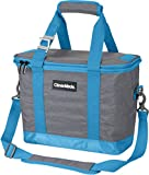 CleverMade SnapBasket 30 Can Soft-Sided Collapsible Cooler: 20 Liter Insulated Tote Bag with Shoulder Strap, Grey/Blue