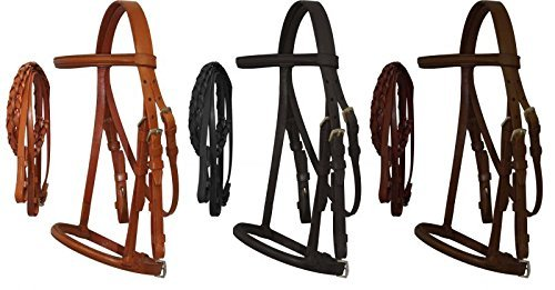 (Horse Pony Cob Mini Leather English Bridle with Raised Browband, Braided Leather Reins, and Adjustable Caveson. (Light Oil, Pony))