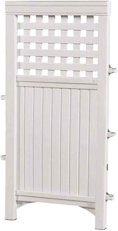 Suncast Outdoor Garden 8 Panel Yard Screen Enclosure Gated Fence, White